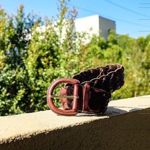Woven Brown Leather Belt